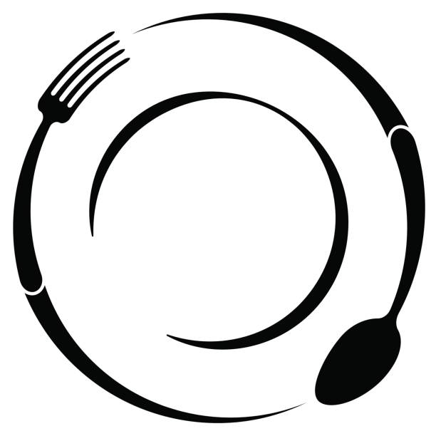illustrazioni stock, clip art, cartoni animati e icone di tendenza di abstract symbol of a cafe or restaurant. a spoon and fork on a plate. a simple outline. - kitchen situations