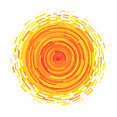 Abstract symbol of the sun. Vector illustration for magazine, poster, book cover, banner, flyer, booklet. Rays in the form of stripes.