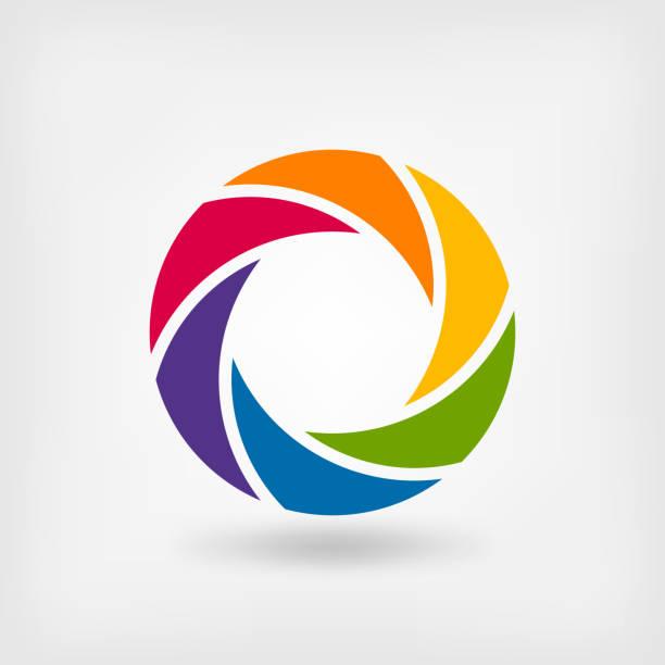 abstract symbol rainbow circle abstract symbol rainbow circle. vector illustration - eps 10 aperture stock illustrations