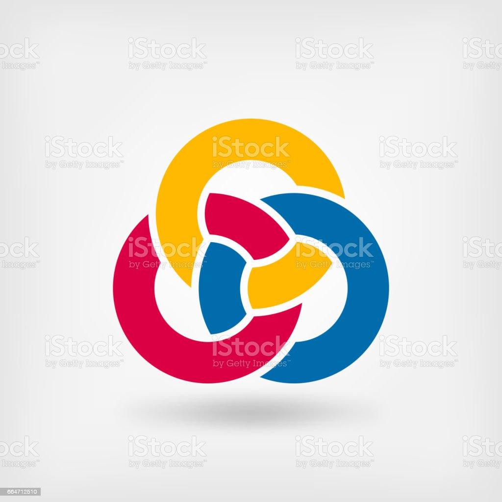 abstract symbol three interlocking rings vector art illustration