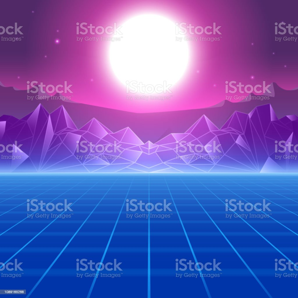 Abstract Synthwave 80s Retro Style Background Stock