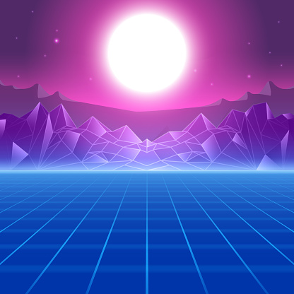Abstract Synthwave 80s Retro Style Background Stock Illustration