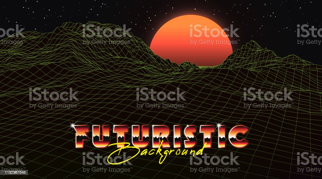Abstract Synthwave Background Completed In Retro Style Stock