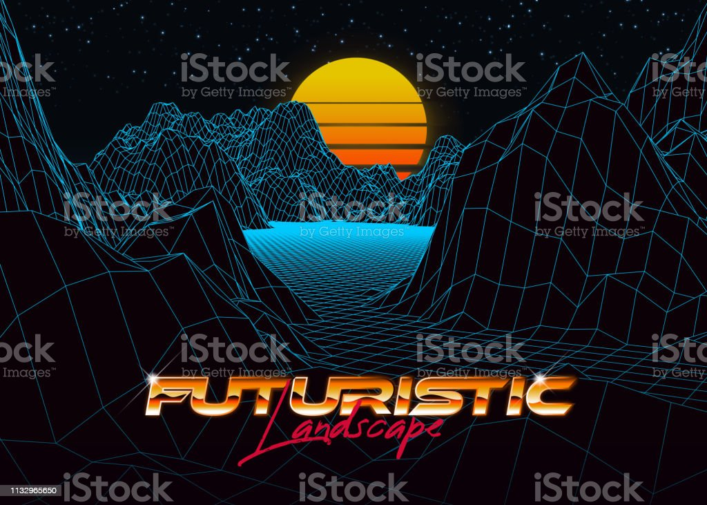 Abstract Synthwave Background Completed In Retro Style Stock Vector
