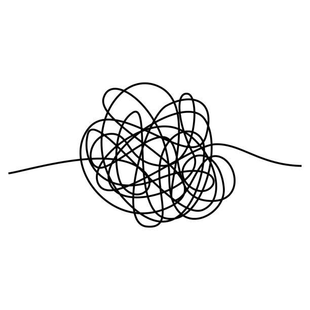 抽象糾結的執行緒。 在白色背景上隔離的向量插圖 - 困惑 幅插畫檔、美工圖案、卡通及圖標