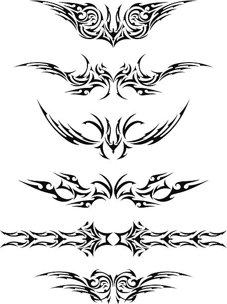 abstract tattoo set - tribal tattoos stock illustrations, clip art, cartoons, & icons