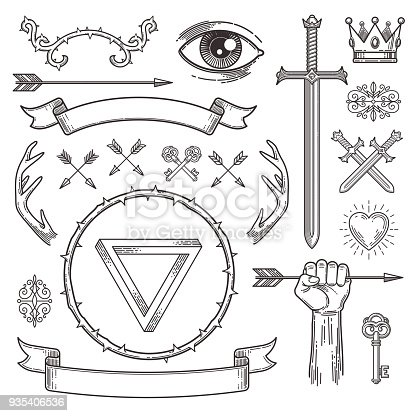 Abstract tattoo style line art heraldic elements. Vector illustration.