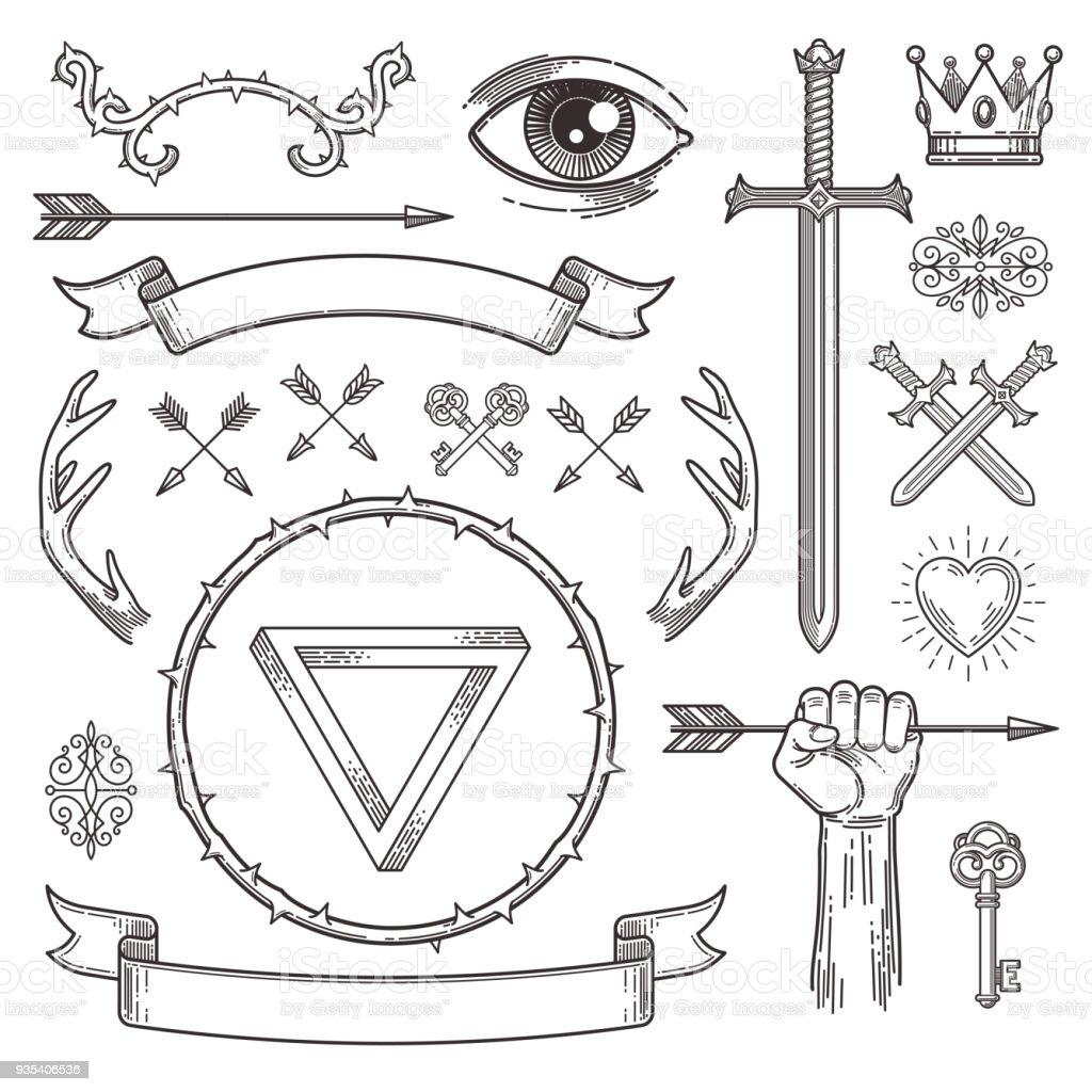 Tatuaje abstracto estilo línea arte elementos heráldicos. Ilustración de vector. - ilustración de arte vectorial