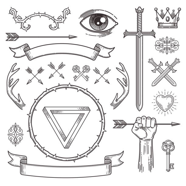 abstract tattoo style line art heraldic elements. vector illustration. - swords tattoos stock illustrations, clip art, cartoons, & icons