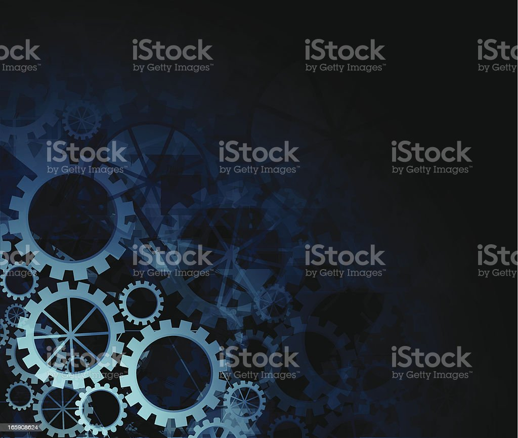 Abstract teal gears background royalty-free stock vector art