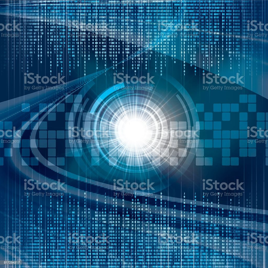 Abstract tech binary blue background vector art illustration