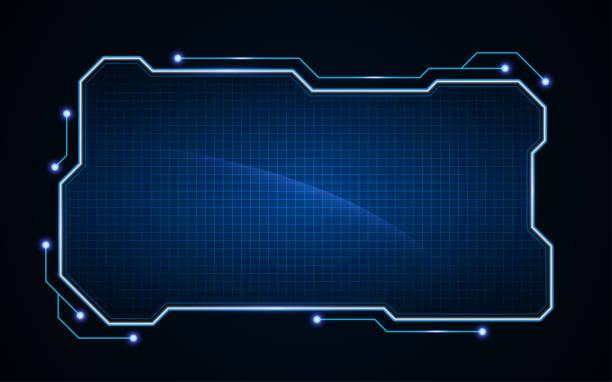 abstrakte Tech Sci Fi Hologramm Frame Vorlage Design-Hintergrund – Vektorgrafik