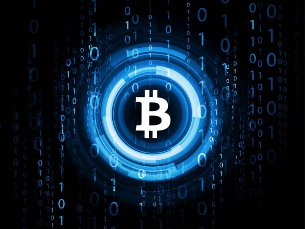 stockillustraties, clipart, cartoons en iconen met abstracte technische achtergrond - bitcoin - bitcoin