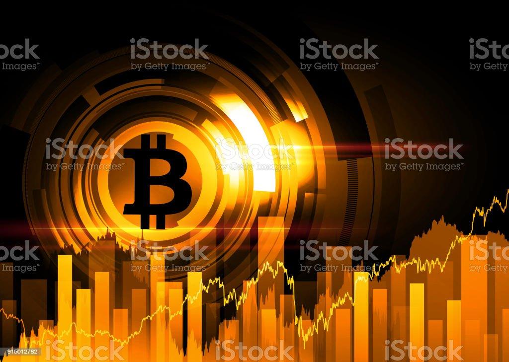 Abstract technical background - bitcoin vector art illustration
