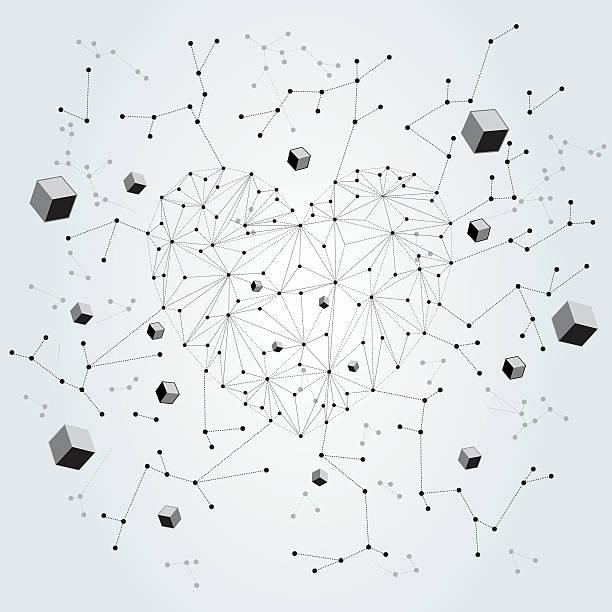 abstract technologic valentine's card design vector art illustration