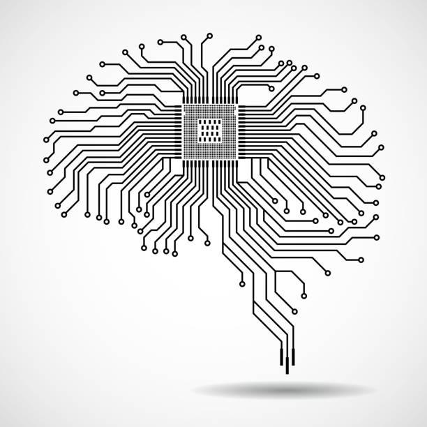 Resumen cerebro tecnológico - ilustración de arte vectorial