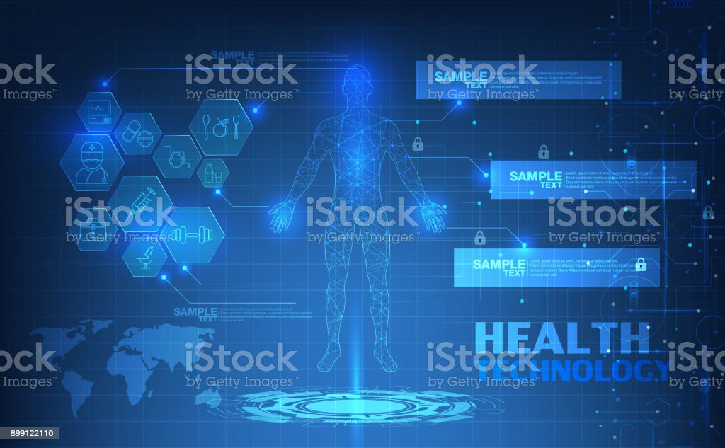 abstract technological health care; science blue print; scientific interface; futuristic backdrop; digital blueprint of human; 3D body part of human,icons health vector illustration. vector art illustration