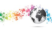 simple style abstract technology background and globe earth