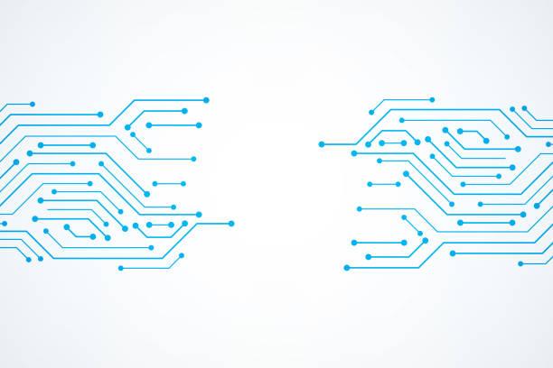abstrakte technik hintergrund, blaue platine muster - farbchips stock-grafiken, -clipart, -cartoons und -symbole