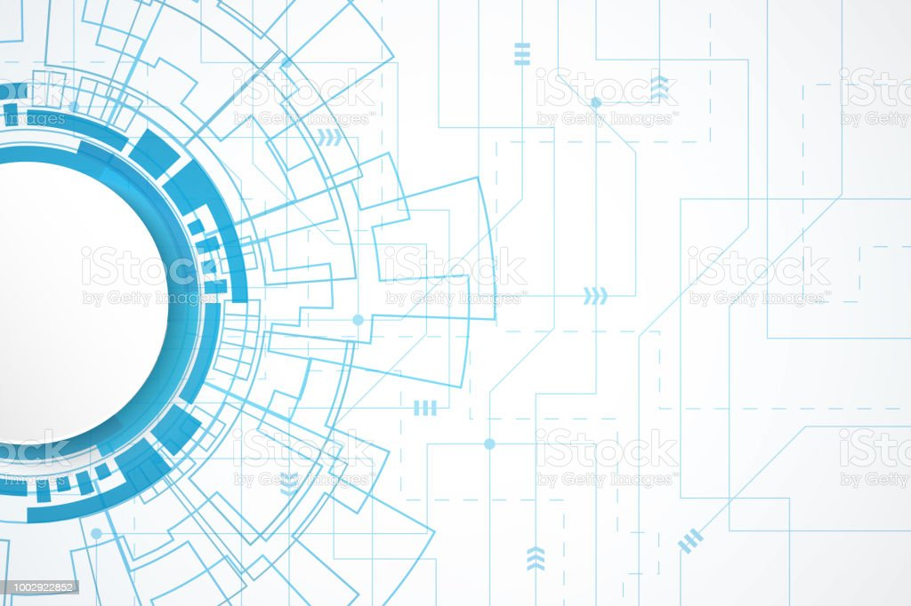 Technology Abstract Background Stock Illustration: Abstract Technology Background Circle Digital Blue Circuit