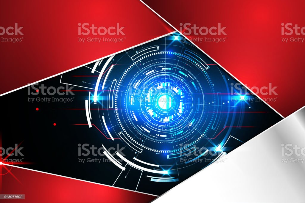 abstract technology background concept circle circuit digital metal red on hi tech future design. Black Bedroom Furniture Sets. Home Design Ideas