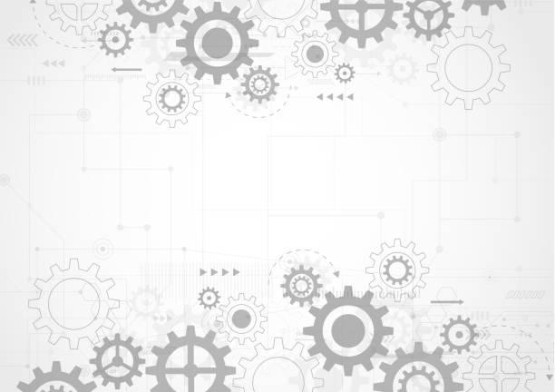 ilustraciones, imágenes clip art, dibujos animados e iconos de stock de antecedentes de tecnología abstracta. ingeniería moderna, futurista, concepto de comunicación científica. ilustración vectorial - rueda dentada