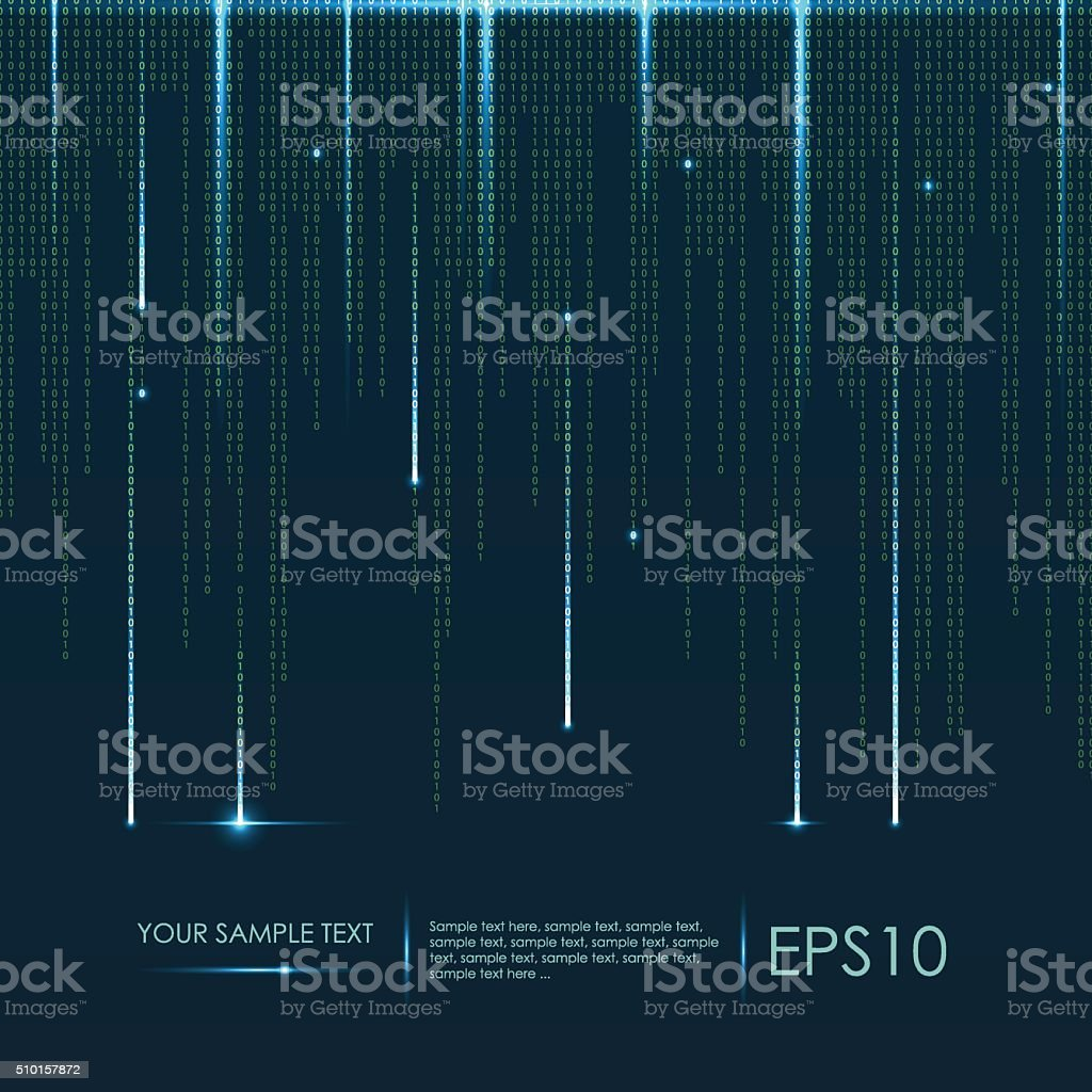 Abstract technology background. Vector binary code vector art illustration