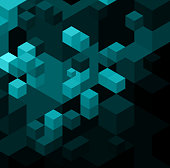 Abstract background with blue cubes. Vector illustration.