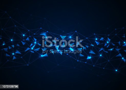 istock Abstract technology background with connecting dots and lines. Data and technology concept. Internet network connection 1073109796