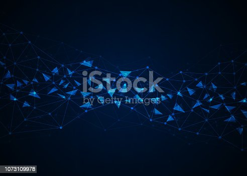 istock Abstract technology background with connecting dots and lines. Data and technology concept. Internet network connection 1073109978