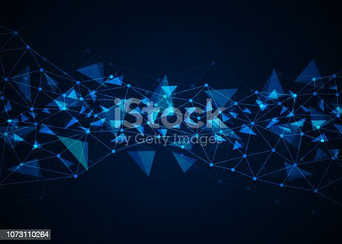 istock Abstract technology background with connecting dots and lines. Data and technology concept. Internet network connection 1073110264