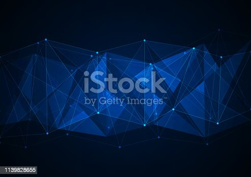 istock Abstract technology background with connecting dots and lines. Data and technology concept. Internet network connection 1139828655
