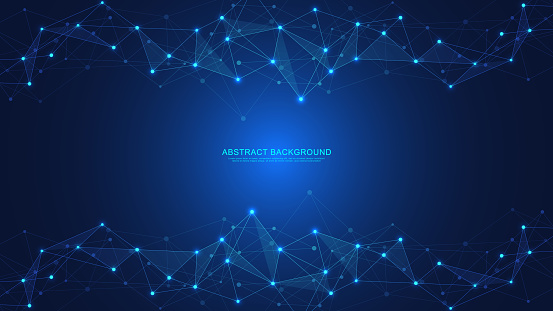 Abstract technology background with connecting dots and lines. Digital technology of global network connection and communication.