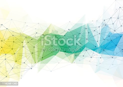 624878906 istock photo Abstract technology background with connecting dots and lines. Colorful geometric 1160981083