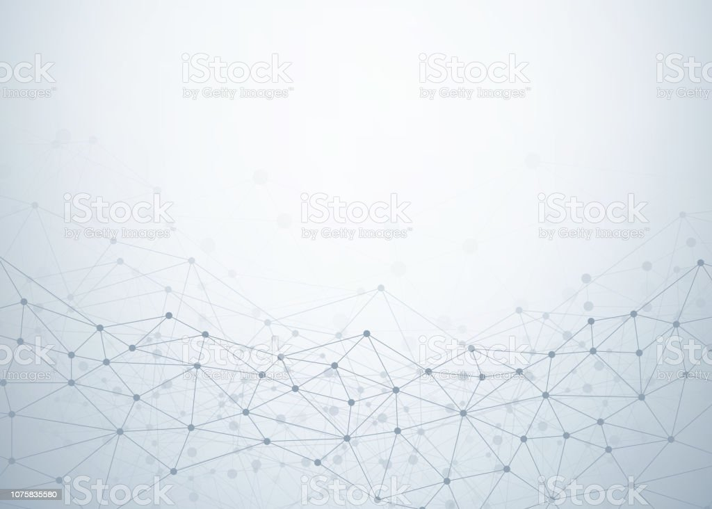 Abstract technology background with dots and lines connection. Data and technology concept. Internet network - arte vettoriale royalty-free di Arte