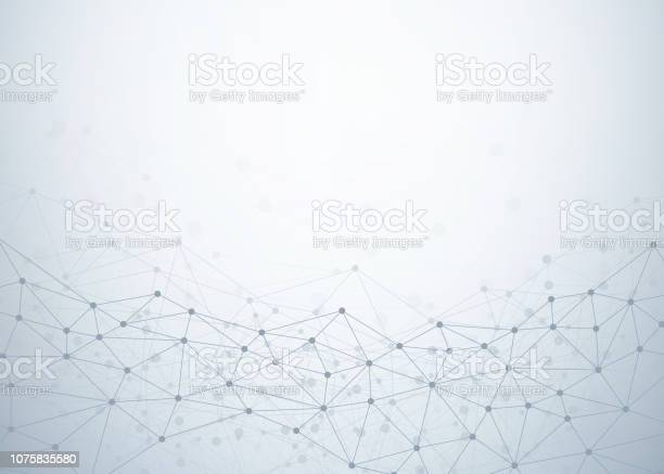 Abstract Technology Background With Dots And Lines Connection Data And Technology Concept Internet Network - Immagini vettoriali stock e altre immagini di Arte