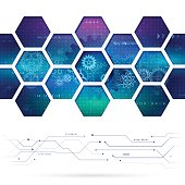 Abstract technology background with hexagons and gear wheels.