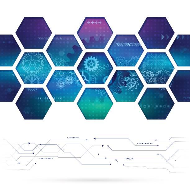 ilustrações, clipart, desenhos animados e ícones de abstrato base de tecnologia com hexágonos e rodas de engrenagem. - planos de fundo de ciências
