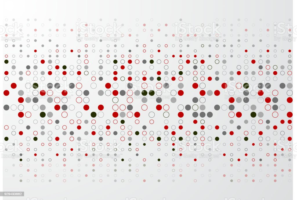 Abstract technology background with red and gray circle border pattern vector art illustration