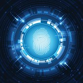 Abstract technology background.fingerprint and Security system