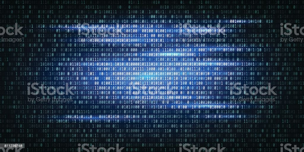 Abstract Technology Binary code Background.Digital binary data and Secure Data Concept vector art illustration