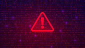 istock Abstract Technology Binary Code Dark Red Background. Cyber Alert 1185282377