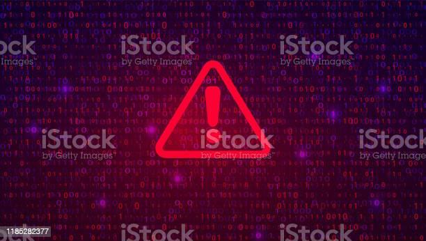 Abstract Technology Binary Code Dark Red Background Cyber Alert - Immagini vettoriali stock e altre immagini di Allerta