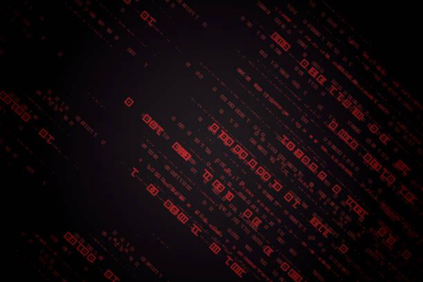 ilustrações de stock, clip art, desenhos animados e ícones de abstract technology binary code red background - vr red background