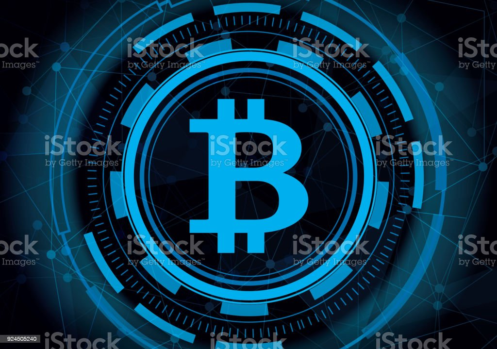 Abstract technology bitcoin with digital line background. Cryptocurrency mining blue data internet concept. vector art illustration