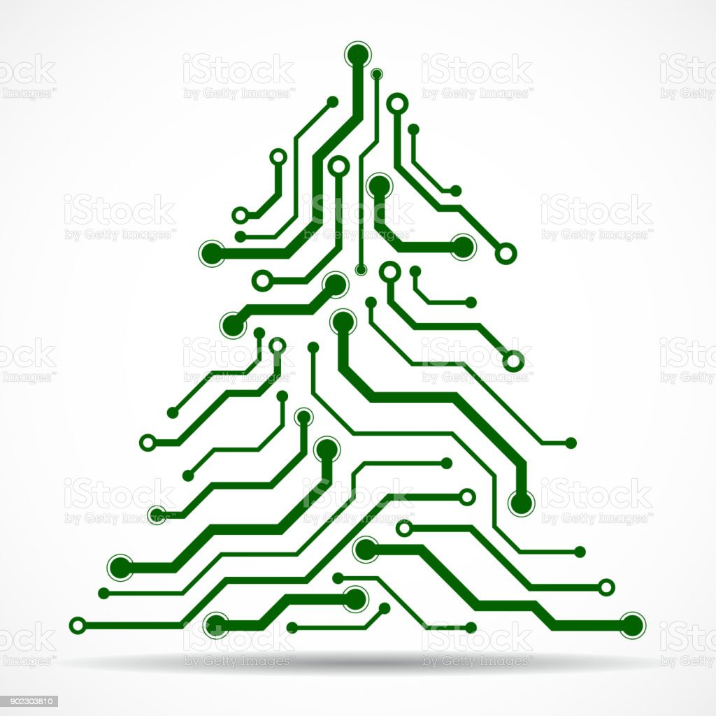 Abstract Technology Christmas Tree Stock Illustration Download Image Now Istock