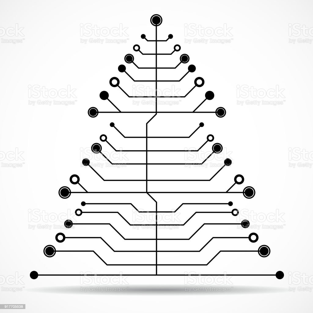 Abstract Technology Christmas Tree Stock Vector Art & More Images of ...