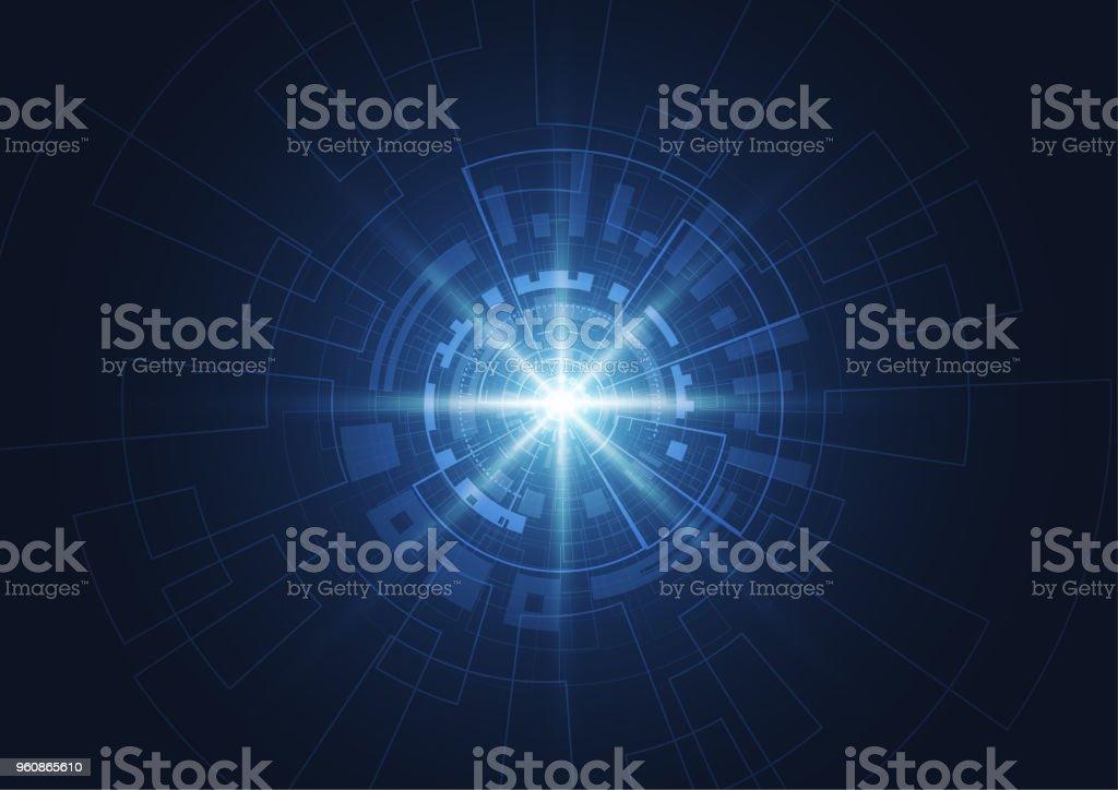 Abstrakte Technologie Kreis blau Innovation-Konzept auf einem dunklen Hintergrund. Vektor-illustration - Lizenzfrei Abstrakt Vektorgrafik