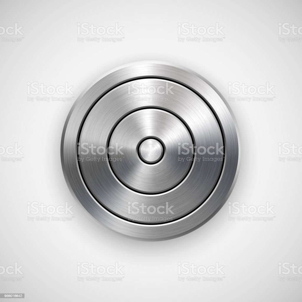 Abstract Technology Circle Metal Badge vector art illustration
