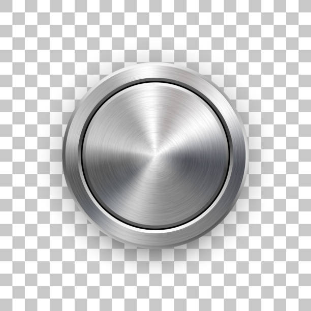 Abstract Technology Circle Metal Badge Abstract circle geometric badge, technology perforated button template with metal texture, chrome, silver, steel and realistic shadow for logo, design concepts, interfaces, apps. Vector illustration. knob stock illustrations